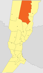Location of Vera Department within Santa Fe Province