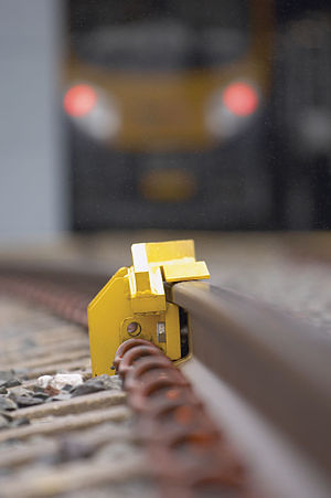 Depot Personnel Protection System - Derailer in a raised position