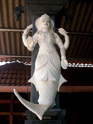 Matsya Purana - Viṣṇu in Matsya avatar (half fish, half human).