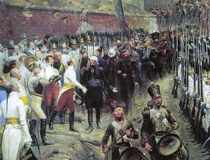 Joseph Barbanègre - Sortie de la garnison de Huningue, 1815 by Édouard Detaille (depicting the moment the garrison leaves with full military honours at the end of the siege).