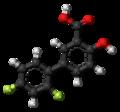 Diflunisal molecule ball.png