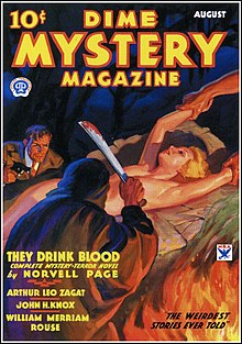 Magazine cover. A cloaked figure with a raised machete stands in the foreground, over a naked blonde woman being held down on a stone platform. In the background approaches a man in a suit holding a revolver.
