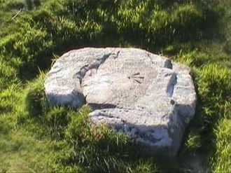 Castle an Dinas, St Columb Major - The stone at Castle an Dinas on which the cage stood and Trehenban starved