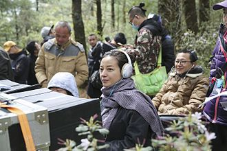 Zhao Wei - Production still. On 8 April 2016, director Zhao Wei (center) filming her second feature.