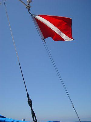 Diver down flag - Diver down flag being flown on a dive ship