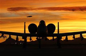 Davis–Monthan Air Force Base - An A-10 in the Arizona sunset