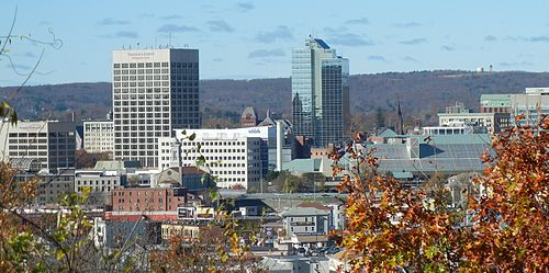 Worcester, second-largest city in the state, with Worcester Regional Airport tower in the background Downtown Worcester, Massachusetts.jpg
