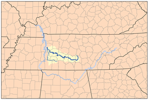 Duck River (Tennessee) - Duck River watershed, depicting the Duck and Buffalo rivers.
