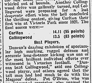 Alex Duncan - The Age, Monday, 27 June 1927.