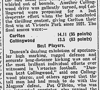 Alex Duncan - The Age, Monday, 27 June 1927.