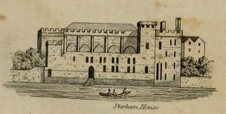 Durham House, London - Durham House, view from the River Thames, from Thomas Allen's History and Antiquities of London