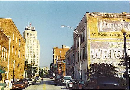 Looking west along Parrish Street, home of what was then known as Black Wall Street Durham Main Street.JPG