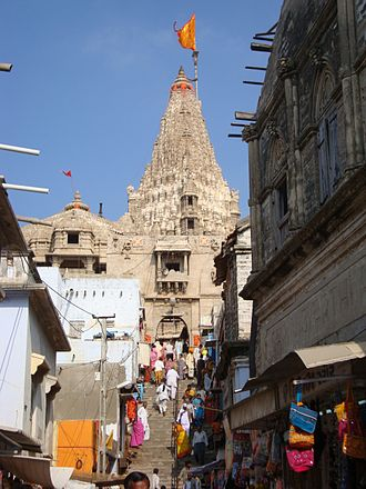 Dwarkadhish Temple - Stairs leading up to the main entrance of the temple