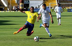 Emilio Izaguirre - Izaguirre challenging Ecuador's Antonio Valencia in a September 2015 friendly