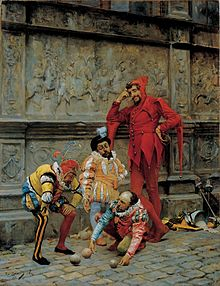 Painting of jesters playing Cochonnet by Eduardo Zamacois y Zabala.