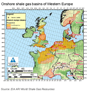 Shale gas by country - Potential shale gas basins in western Europe (US EIA, 2011)