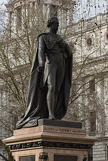 Statue of the Earl of Derby, Parliament Square outdoor bronze sculpture in Parliament Square, London, England
