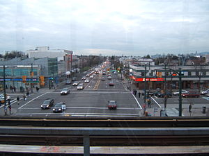 Broadway (Vancouver) - The intersection of Broadway and Commercial Drive, seen from the Broadway SkyTrain station.