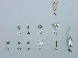 Metal noble wikipedia la enciclopedia libre una representacin de cada uno de los metales nobles existentes en la tabla perdica urtaz Choice Image