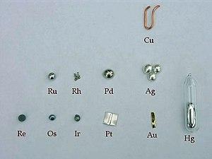 Assortment of precious metal elements.