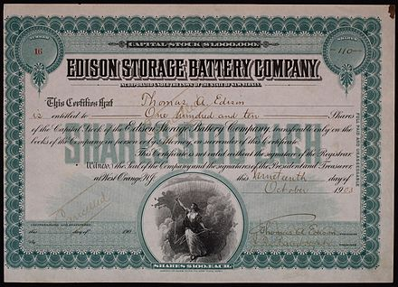 Share of the Edison Storage Battery Company, issued 19. October 1903 Edison Storage Battery Company 1903.JPG
