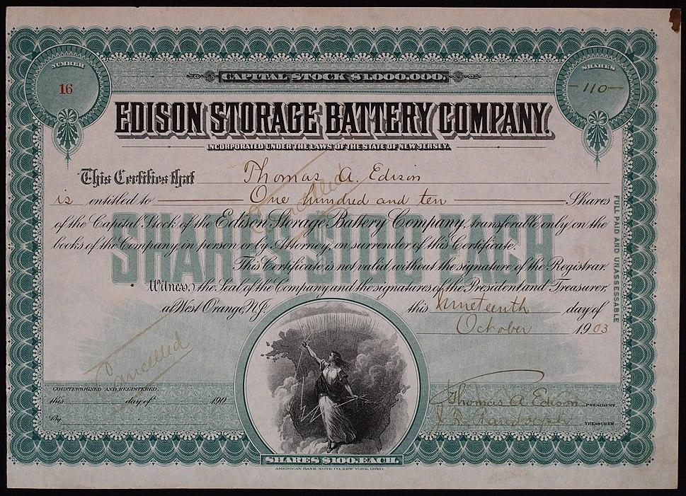 Edison Storage Battery Company 1903