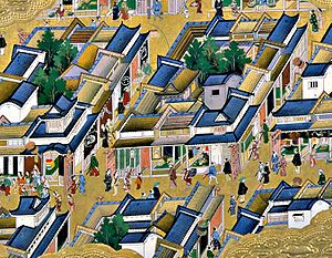 History of Tokyo - View of Edo, from a 17th-century screen painting