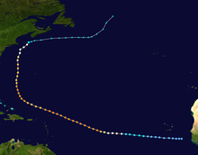 Track map of hurricane's path across the Atlantic Ocean.