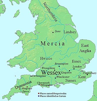 Ecgberht, King of Wessex - A map of England during Ecgberht's reign
