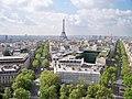 Eiffel Tower from the Arc de Triomphe, Paris 11 May 2012.jpg