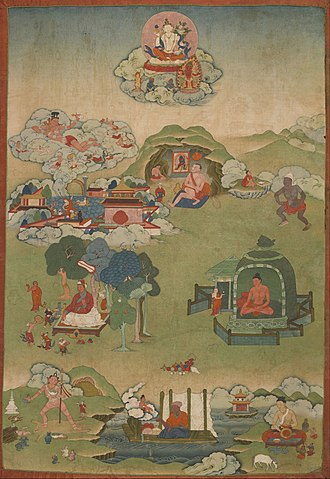 Vajrayana - Mahasiddhas, Palpung monastery. Note the figure of the great adept Putalipa at top center, seated in a cave and gazing at an image of the meditational deity Samvara and the figure at the bottom left holding a skull-staff (Khaṭvāṅga).