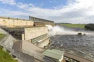 Albury - Hume dam, with eight spillway gates open