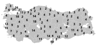 Electoral system of Turkey - The number of MPs elected per electoral district for the 2015 general election