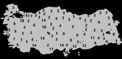 Képviselők száma megyékre lebontva - forrás: Wikipédia