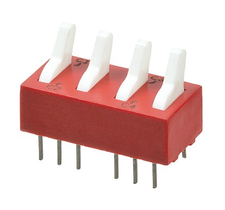 A toggle switch with four inputs and outputs. Electronic-Component-Four-Switch.jpg