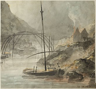 The Iron Bridge - Elias Martin painting of the Iron Bridge under construction, July 1779. This is the only known painting of the Iron Bridge during construction.