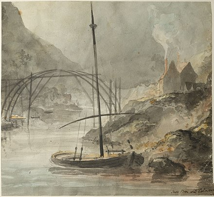 Elias Martin painting of the Iron Bridge under construction, July 1779. This is the only known painting of the Iron Bridge during construction. Elias Martin Iron Bridge.jpg
