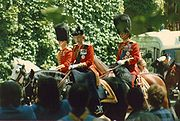 Elizabeth II riding to Trooping the Colour for the last time in 1986 on her horse Burmese. Since then, she has travelled in a phaeton.