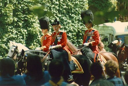 Queen Elizabeth II riding Burmese during Trooping the Colour for the last time in 1986
