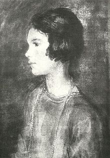 black and white reproduction of oil painting of a 9-year-old girl, in left profile