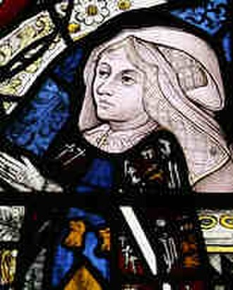 Elizabeth Tilney, Countess of Surrey - Detail of a stained glass window at Holy Trinity Church, Long Melford, Suffolk depicting Elizabeth Tilney