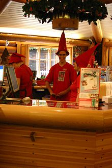 Elves at post office of Santa Claus' Workshop Village (Joulupukin Pajakyla) near Rovaniemi IMG 2710.jpg