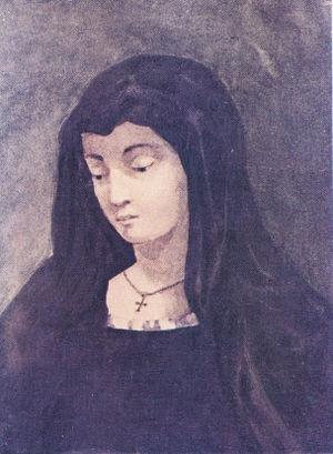 "Varvara Bakhmeteva - Amelia, the heroine of Mikhail Lermontov's play ""The Spaniards"". Painting by Lermontov. Understood to be a portrait of Barbara Lopukhin."