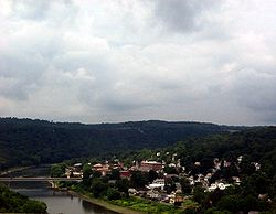 Emlenton and the Allegheny River from the Interstate 80 bridge