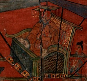 Emperor Cheng of Han - Emperor Cheng riding a palanquin, Northern Wei painted screen (5th century)
