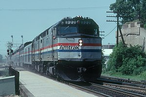 Amtrak Empire Builder at Rondout station in 1983