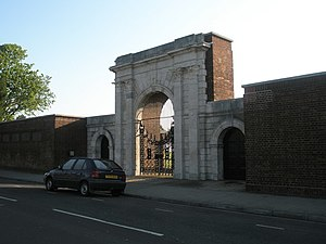 United Services Recreation Ground - The gated archway, in Burnaby Road, serves as the main entrance to the ground.  The gate was previously part of King James' Gate, which stood in Broad Street and was the entrance to Old Portsmouth.