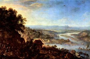 Herman Saftleven - Herman Saftleven, Erbach im Odenwald, Rheingauansicht mit Taunusbergen, 1665