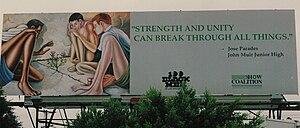 Ernie Barnes - Barnes art used as inspiration billboard. Courtesy of the Ernie Barnes Family Trust.
