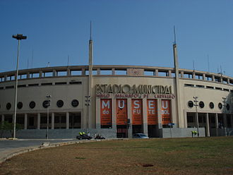 Pacaembu Stadium - Pacaembu's main entrance displaying the Museum outdoor